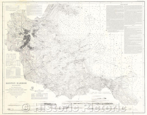 Historic Map : Boston Harbor Massachusetts Survey of the Coast of the United States, 1867 , Vintage Wall Art