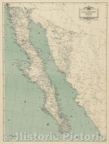 Historic Map : Map of Lower California and the Northwestern States of Mexico : from the best available records, 1930 , Vintage Wall Art