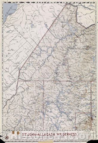 Historic Map : The Phillips Map of Northern Maine's St. Johns-Allagash Wilderness featuring the Allagash Wilderness Waterway State Park, 1967 , Vintage Wall Art
