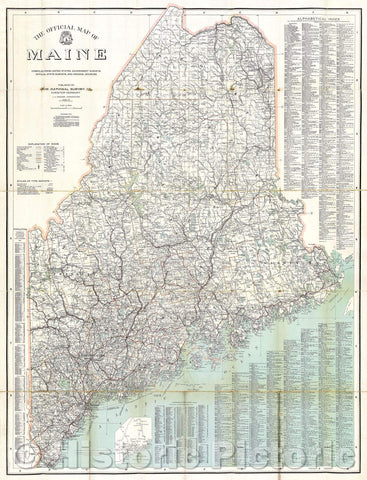 Historic Map : The Official Map of Maine compiled from United States government surveys, official state surveys, and original sources; L.V. Crocker, Topographer., 1918 , Vintage Wall Art