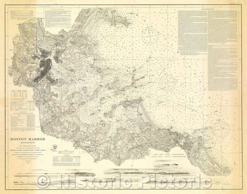 Historic Map : Boston Harbor, Massachusetts:  Survey of the Coast of the United States, 1867 , Vintage Wall Art