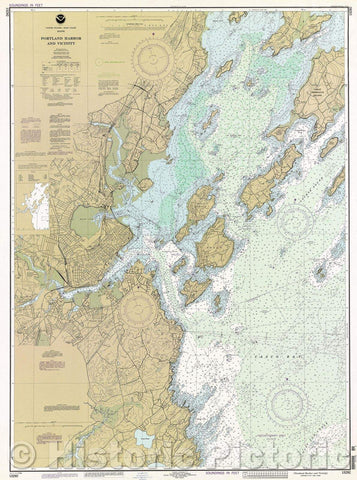 Historic Map : United States, Maine--east coast, Portland Harbor and vicinity, 1995 , Vintage Wall Art