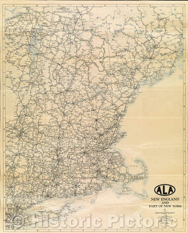 Historic Map : Map of New England and part of New York State : Quebec, Northern Maine, and Maritime Provinces, 1936 , Vintage Wall Art