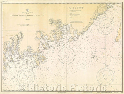 Historic Map : United States- East Coast Maine Quoddy Roads to Petit Manan Island, 1929 , Vintage Wall Art