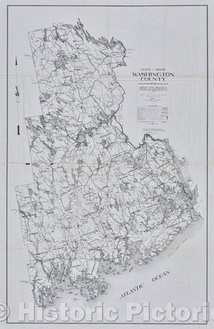 Historic Map : State of Maine Washington County, 1973 , Vintage Wall Art