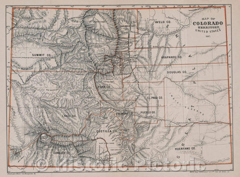 Historic Map : Map of Colorado Territory, United States, 1867 , Vintage Wall Art