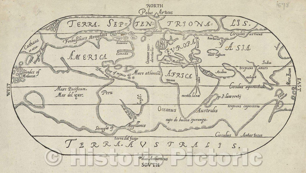 Historic Map : Untitled oval map of the world, 1578 , Vintage Wall Art