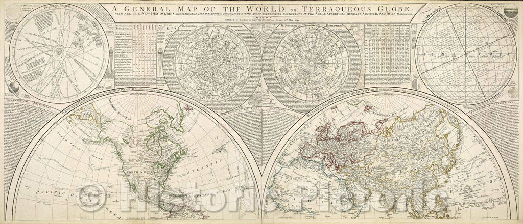 Historic Map : A General Map of the World, or Terraqueous Globe with all the New Discoveries and Marginal Delineations, containing the most Interesting Particulars, c. 1791 , Vintage Wall Art , v2