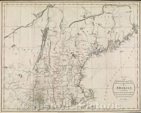 Historic Map : Map of the Northern, or, New England States of America, comprehending Vermont, New Hampshire, District of Main, Massachusetts, Rhode Island, 1795 , Vintage Wall Art