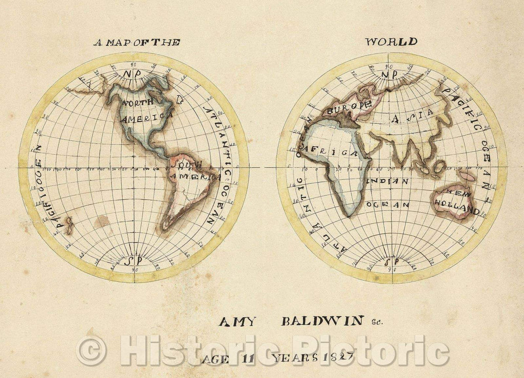 Historic Map : A Map of the World Amy Baldwin Sc. Age 11 Years 1827, 1827 , Vintage Wall Art
