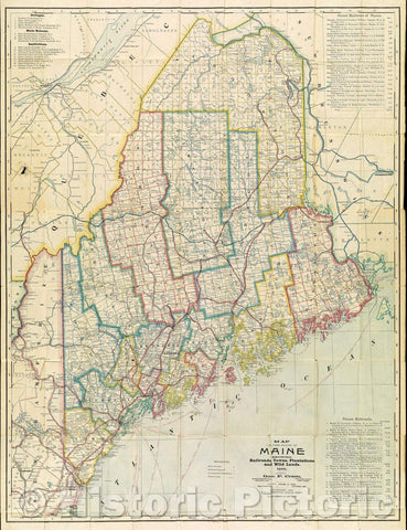 Historic Map : Map of the State of Maine  Showing Railroads, Towns, Plantations and Wild Lands. 1900., 1900 , Vintage Wall Art