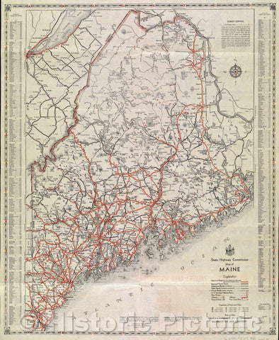 Historic Map : State Highway Commission Map of Maine, c. 1936 , Vintage Wall Art