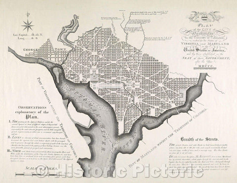 Historic Map : Plan of the City of Washington in the Territory of Columbia, ceded by the States of Virginia and Maryland to the United States of America, 1792 , Vintage Wall Art