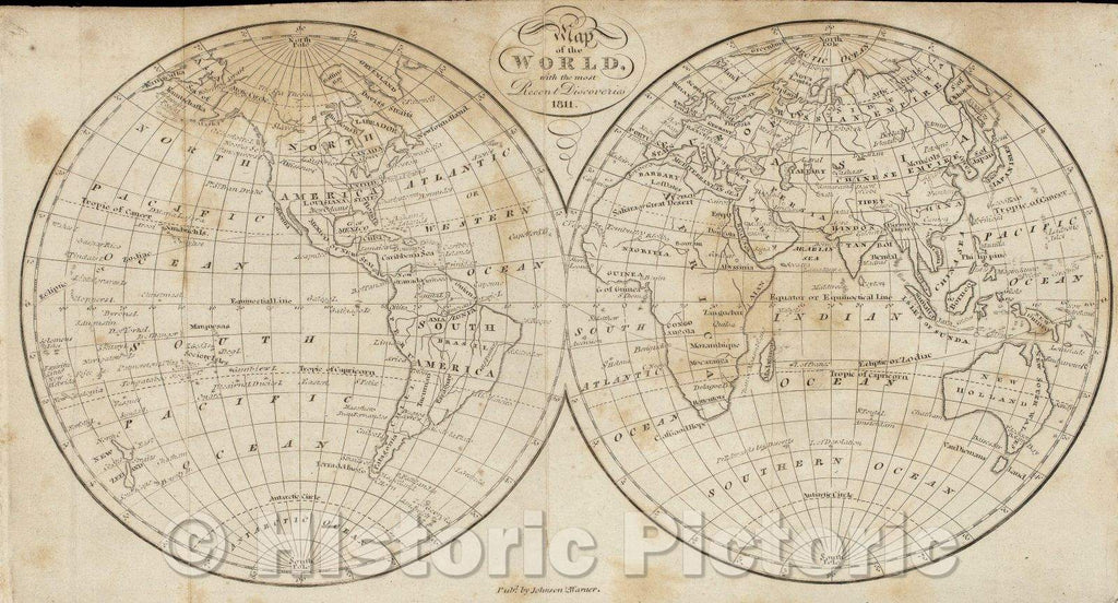 Historic Map : Map of the World, with the most Recent Discoveries, 1811 , Vintage Wall Art