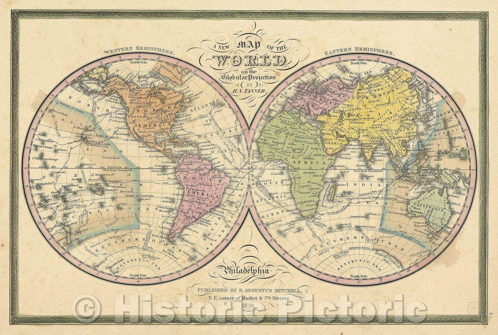 Historic Map : A New Map of the World on the Globular Projection by H.S. Tanner, 1846 , Vintage Wall Art