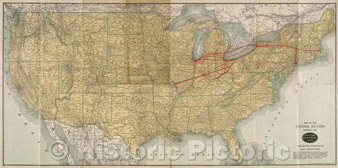 "Historic Map : Map of the United States showing the New York Central Lines, ""The Water Level Route"" and Connections., 1915 , Vintage Wall Art"