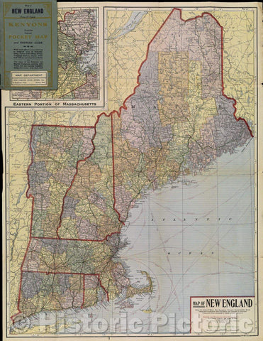 Historic Map : Map of New England Being the states of Maine, New Hampshire, Vermont, Massachusetts, Rhode Island and Connecticut with Population and Location, 1920 , Vintage Wall Art