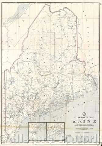 Historic Map : Post Route Map of the State of Maine showing Post Offices with the intermediate distances on mail routes., 1942 , Vintage Wall Art