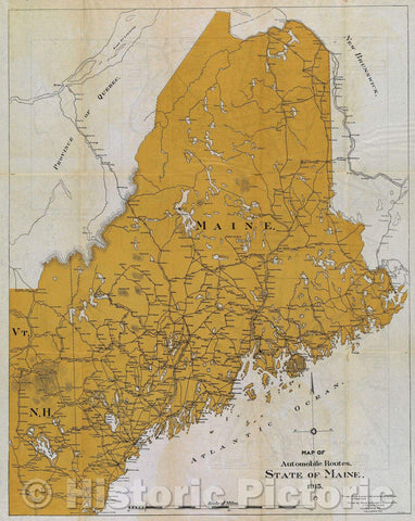 Historic Map : Map of Automobile Routes. State of Maine. 1915., 1915 , Vintage Wall Art
