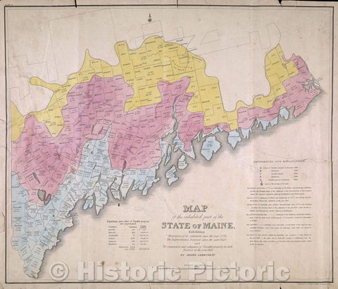 Historic Map : Map of the Inhabited Part of the State of Maine Exhibiting the progress of its settlement since 1778, The Representative Districts since 1820, 1829 , Vintage Wall Art