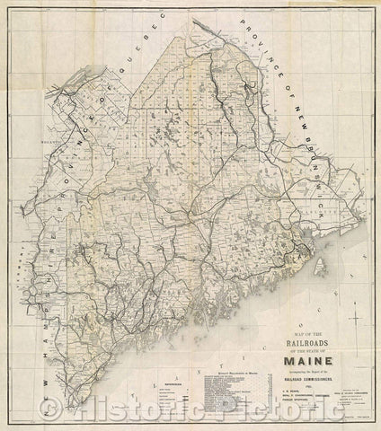 Historic Map : Map of the Railroads of the State of Maine  Accompanying the Report of the Railroad Commissioners, 1901, 1901 , Vintage Wall Art