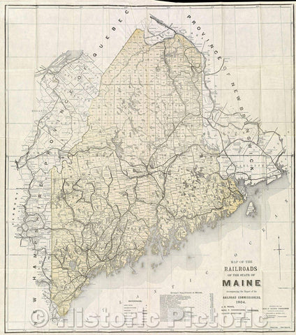 Historic Map : Map of the Railroads of the State of Maine Accompanying the Report of the Railroad Commissioners.1904., 1904 , Vintage Wall Art