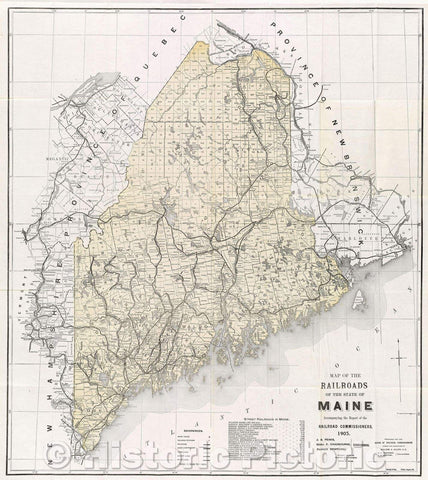 Historic Map : Map of the Railroads of the State of Maine accompanying the report of the Railroad Commissioners. 1905., 1905 , Vintage Wall Art