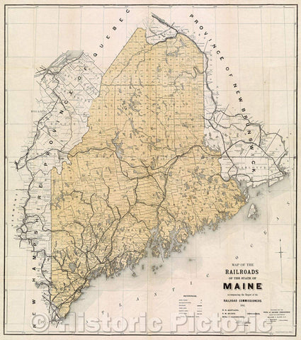 Historic Map : Map of the Railroads of the State of Maine accompanying the Report of the Railroad Commissioners 1892, 1892 , Vintage Wall Art