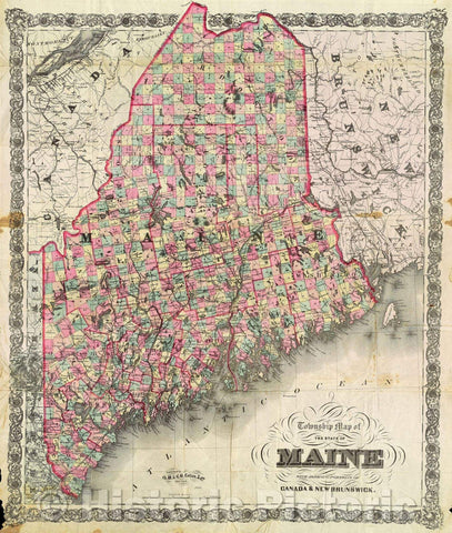 Historic Map : Township Map of the State of Maine with adjoining portions of Canada and New Brunswick, 1896 , Vintage Wall Art