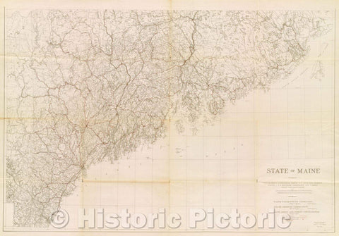 Historic Map : State of Maine compiled from U.S. Geological Survey, U.S. Coast and Geodetic Survey, U.S. Boundary Commission and various state and private maps, 1922 , Vintage Wall Art