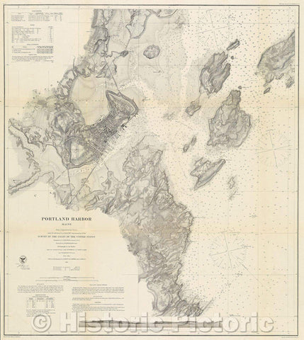 Historic Map : Portland Harbor, Maine:  Survey of the Coast of the United States, 1866 , Vintage Wall Art