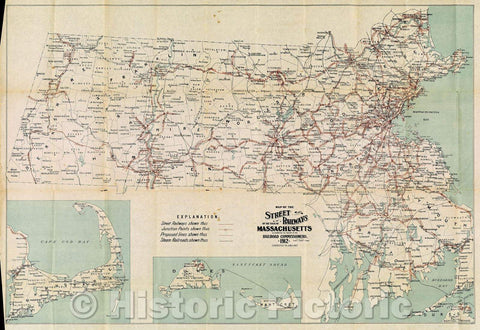 Historic Map : Map of the Street Railways of the State of Massachusetts. Accompanying the report of the Railroad Commissioners. 1912. Corrected to Jan. 1, 1913., 1913 , Vintage Wall Art