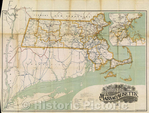 Historic Map : Map of the Railroads of the State of Massachusetts. 1912. Accompanying the report of the Railroad Commissioners. Corrected to Jan. 1, 1913., c. 1913 , Vintage Wall Art