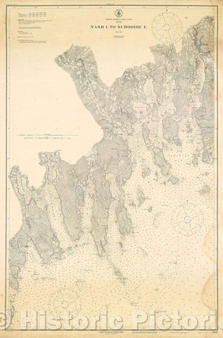 Historic Map : United States-East Coast Maine Nash I. to Schoodic I., 1916 , Vintage Wall Art