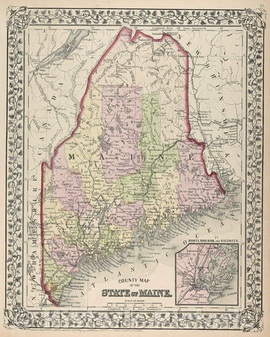 Historic Map : County Map of the State of Maine, 1872 , Vintage Wall Art