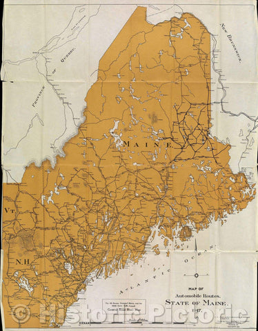 Historic Map : Map of Automobile Routes. State of Maine. 1917., 1917 , Vintage Wall Art