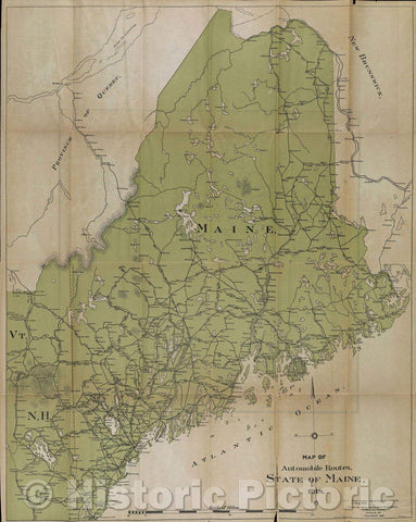 Historic Map : Map of Automobile Routes. State of Maine. 1918., 1918 , Vintage Wall Art
