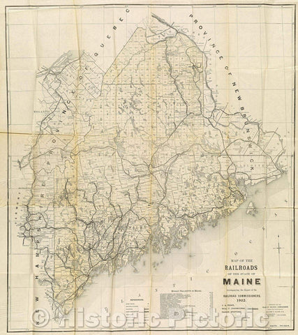 Historic Map : Map of the Railroads of the State of Maine Accompanying the Report of the Railroad Commissioners. 1902., 1902 , Vintage Wall Art