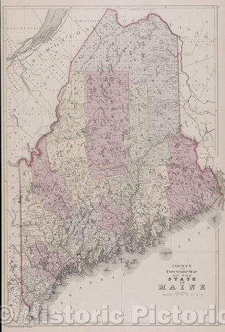 Historic Map : County and Township Map of the State of Maine, 1882 , Vintage Wall Art