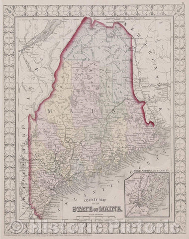 Historic Map : County Map of the State of Maine, 1874 , Vintage Wall Art