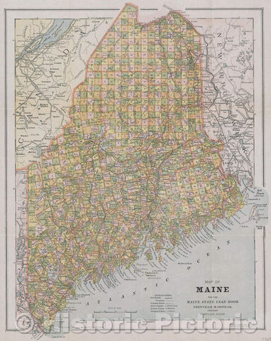 Historic Map : Map of Maine for the Maine State Year Book Grenville M. Donham. Publisher Portland, Maine., 1905 , Vintage Wall Art