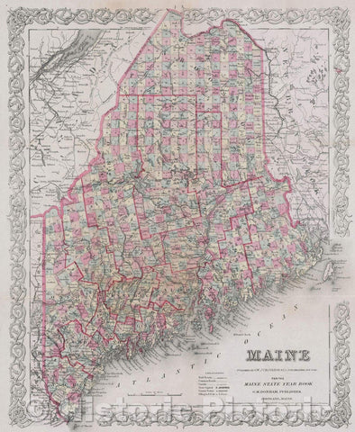 Historic Map : Maine published by G.W. and C.B. Colton and Co. No. 312 Broadway New York for the Maine State Year Book, 1887 , Vintage Wall Art