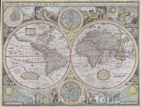 Historic Map : A new and accurat map of the world Drawne according to ye truest Descriptions, latest Discoveries and best Observations yt have beene made by English, 1651 , Vintage Wall Art