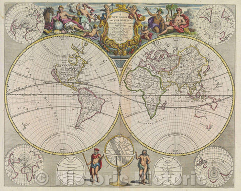 Historic Map : A New Map of the World  From the Latest Observations Revis'd by I. Senex, 1721 , Vintage Wall Art