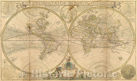 Historic Map : A New and Correct Map of the World laid down according to the newest discoveries, and from the most exact observations by Herman Moll, Geographer, 1709 , Vintage Wall Art