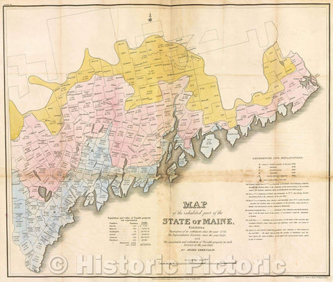 Historic Map : Map of the inhabited part of the State of Maine, exhibiting the progress of its settlement since the 1778,  The representative districts, 1829 , Vintage Wall Art
