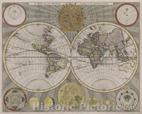 Historic Map : A Map of the World according to the latest Discoveries, Vintage Wall Art