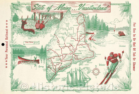 Historic Map : State of Maine... Vacationland, Vintage Wall Art