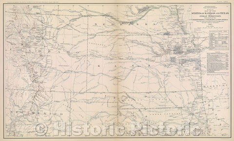 Historic Map : Engineer Bureau War Department.  Section of map of the states of Kansas and Texas and Indian territory, with parts of the territories of Colorado, 1867 , Vintage Wall Art
