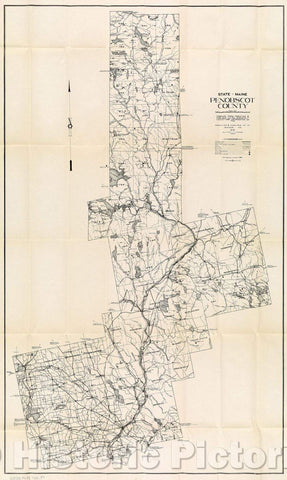 Historic Map : State of Maine Penobscot County, 1932 , Vintage Wall Art